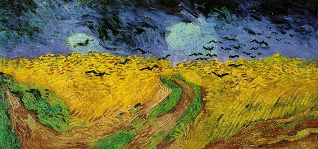 Wheatfields with crows painting by Vincent Van Gogh
